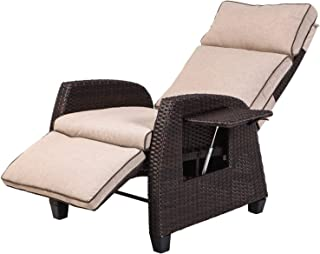 LCH Adjustable Recliner Relaxing Sofa Chair Outdoor Wicker Furniture Aluminum Frame Lounge with Beige Soft Thicken Cushion...