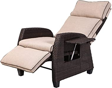 LCH Adjustable Recliner Relaxing Sofa Chair Outdoor Wicker Furniture Aluminum Frame Lounge with Beige Soft Thicken Cushions |