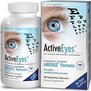 ActiveEyes AREDS 2 Eye Vitamin & Mineral Supplement with Lutein and Zeaxanthin, 90 Vegetarian Capsules