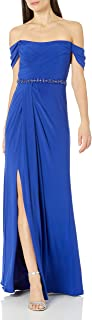 Women's Pleated Jersey Column Gown
