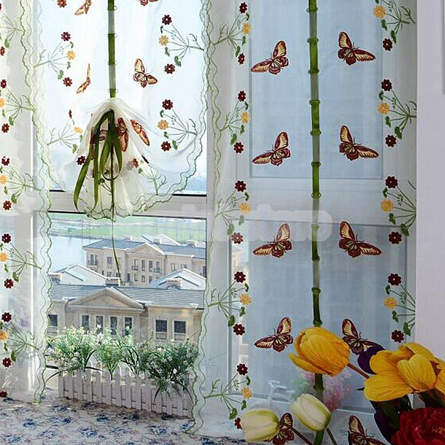 Pastoral Butterfly Window Roman Curtain Embroidered Sheer Drape 80  200cm