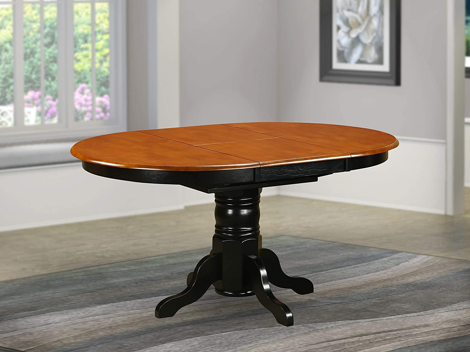 East West Furniture Butterfly leaf Oval Table   Cherry Table Top Surface  and Black Finish Pedestal Legs Hardwood Frame Kitchen Table