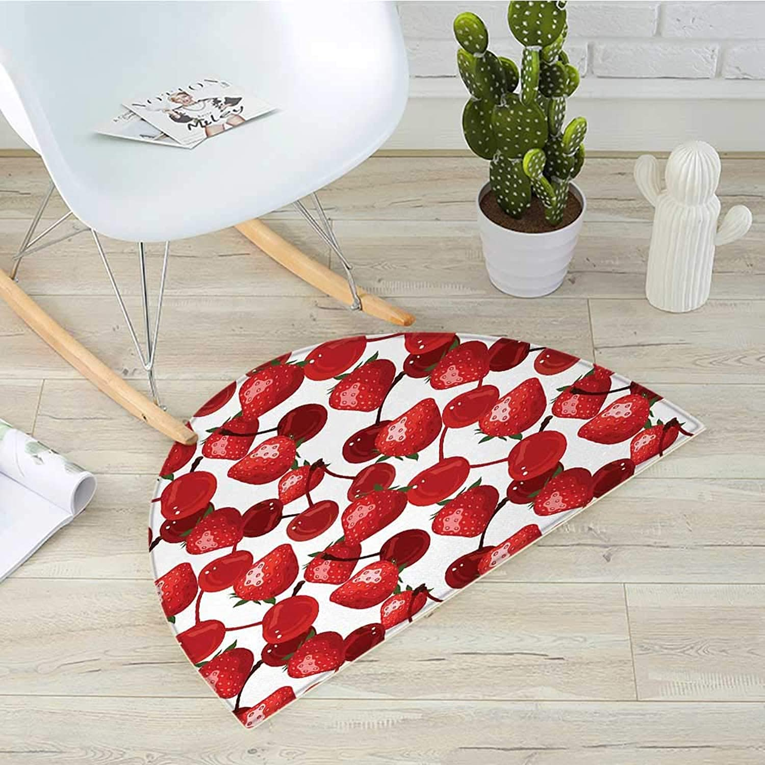 Red Semicircle Doormat Strawberries and Cherries Spring Fruits Organic Food and Picnic Image Halfmoon doormats H 39.3  xD 59  Burgundy Green and White