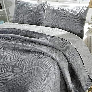 Couvre-Lit Matelassé Double Dessus De Lit Lavable Multi-Usages En Coton Gris Argenté Couette Fine Douce Et FraîChe Couvert...