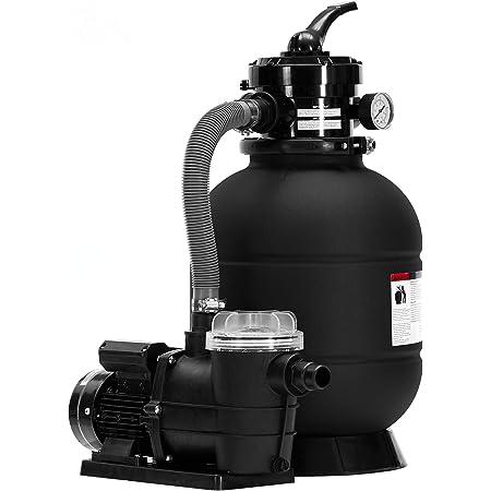 Arebos Filtre à sable avec pompe | 400 W | 10200 l-h | Volume du réservoir jusqu'à 20 kg de sable | Noir