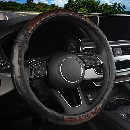 Microfiber Leather Breathable Anti-Slip Odorless Steering Cover Universal Fit 15 Inch Anti-Slip Wheel Protector for Men Women Accarparts Steering Wheel Cover Black Leather + Carbon Fiber