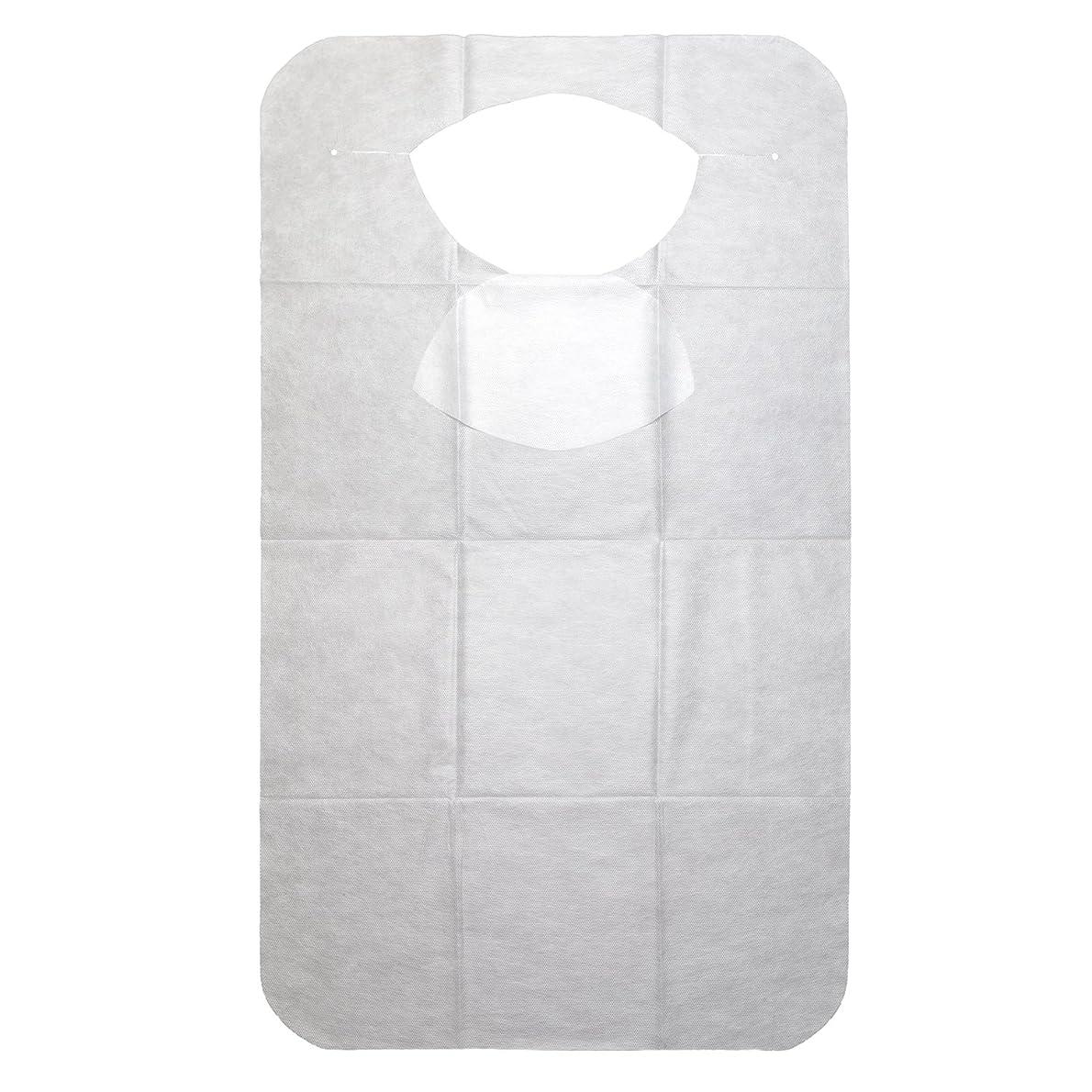 志す電池キャンベラストリックスデザイン 使い捨てエプロン 襟元カバー付 白 43×75cm 3層構造 不織布 お食事に KN-947 30枚入,40個セット