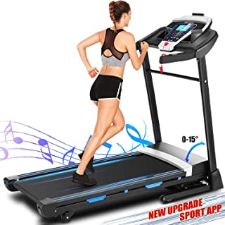 ANCHEER Treadmill, 3.25Hp APP Control Folding Electric Treadmills with Heavy Duty Steel Frame and Automatic Incline, Indoor Jogging Walking Running Exercise Machine for Home Gym Office