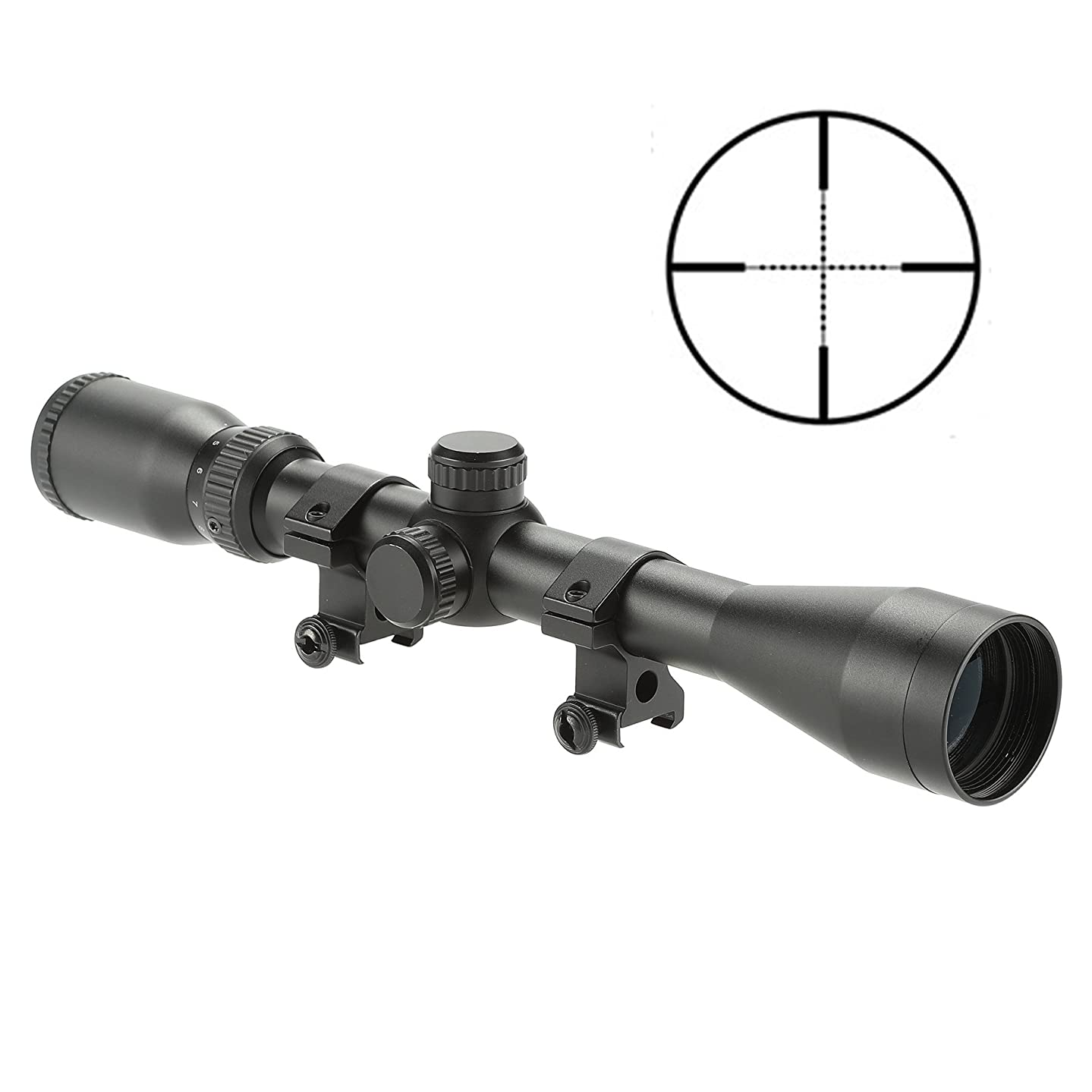 Pinty Pro 4-12X40 Mil-dot Tactical Rifle Scope Optics Optical Scope for Hunting w/Aircraft-Grade Aluminum Alloy Tube Side Focus, Waterproof/Fog Proof (4-12x40)