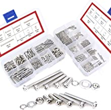 Hilitchi 600-Piece M2 M3 Phillips Pan Head Screws Bolt Nut Lock Flat Washers Assortment Kit, 304 Stainless Steel