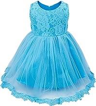 FEESHOW Baby Girls Bowknot Lace Flower Dress Wedding Baptism Christening Gown Pageant Birthday Tutu Dress