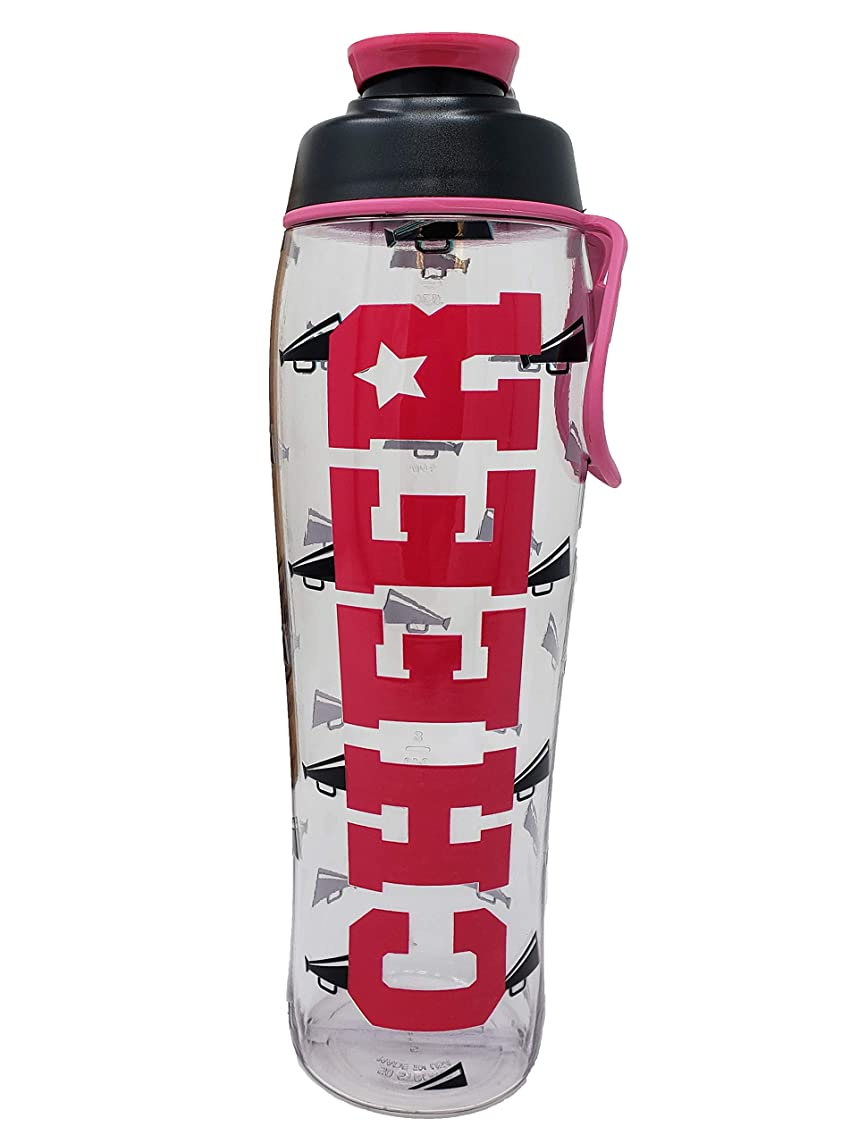 50 Strong BPA Free Reusable Cheer Dance Ballet Gymnast Water Bottle for Girls - Clear with Cheerleading Dancer Gymnastics Print - Gift for Cheerleaders, Dancers & Gymnasts