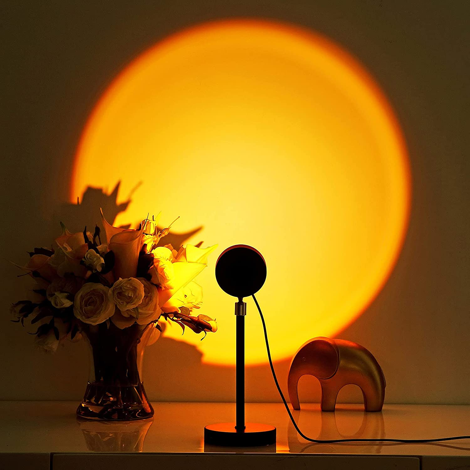 Elleety Sunset Lamp - Sunset Light Projector with 180-degree Rotation - USB Charge Sun Aura Lamp for Warm Romantic Mood - Photoshoot Sunset Lights for Indoors - Durable Aluminum Alloy Design