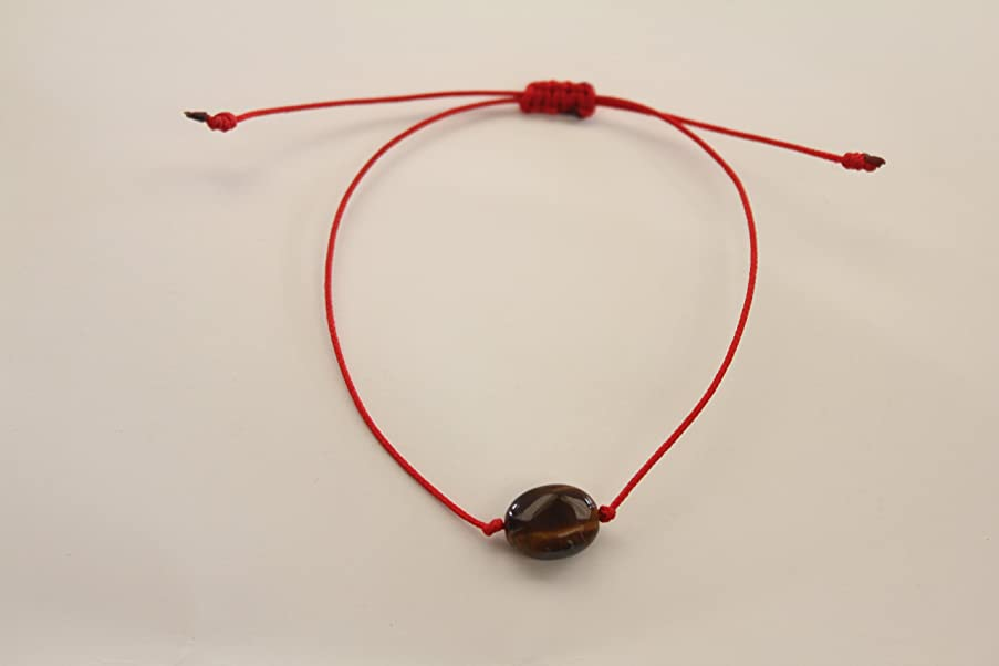 Two Healing and Protective Handles with semiprecious Stones and Quartz of Volcanic Origin   Adjustable Size   for Women and Men   Red Cord. (Oval Tiger Eye)