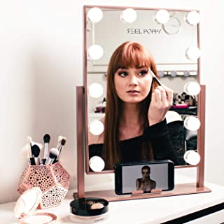 Rebel Poppy Makeup Vanity Mirror with Lights - Lighted Cosmetic Vanity Mirror with Phone Holder, 3 Colour Touch Control with Dimmable LED Bulbs, Hollywood Style Makeup Mirror, Rose Gold