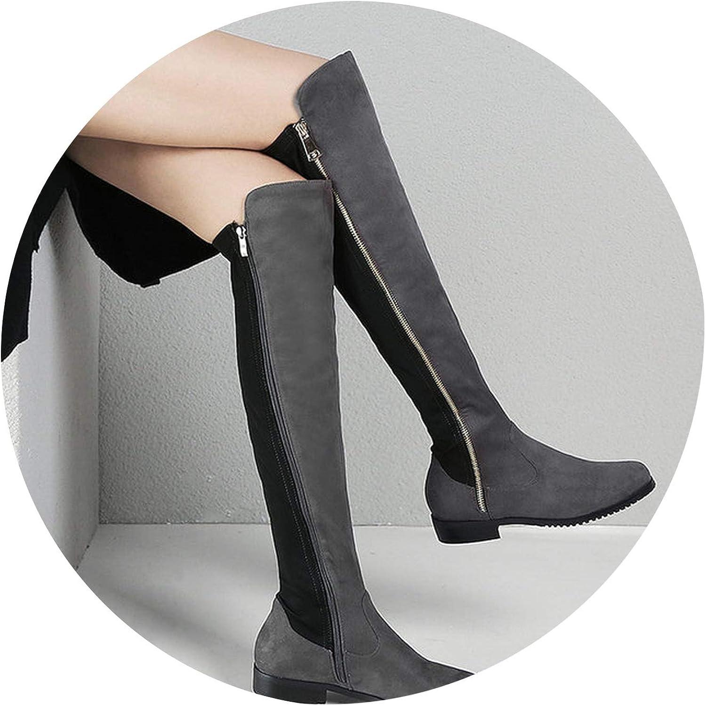 Knee High Boots Women Soft Flock Leather Knee Winter Boots Women Long Boots shoes