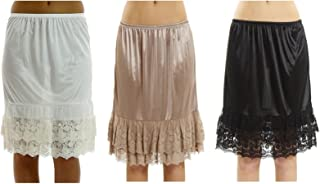 Women's Double Layered Lace Satin Skirt Extender Half Slip 3 Pieces Pack Set