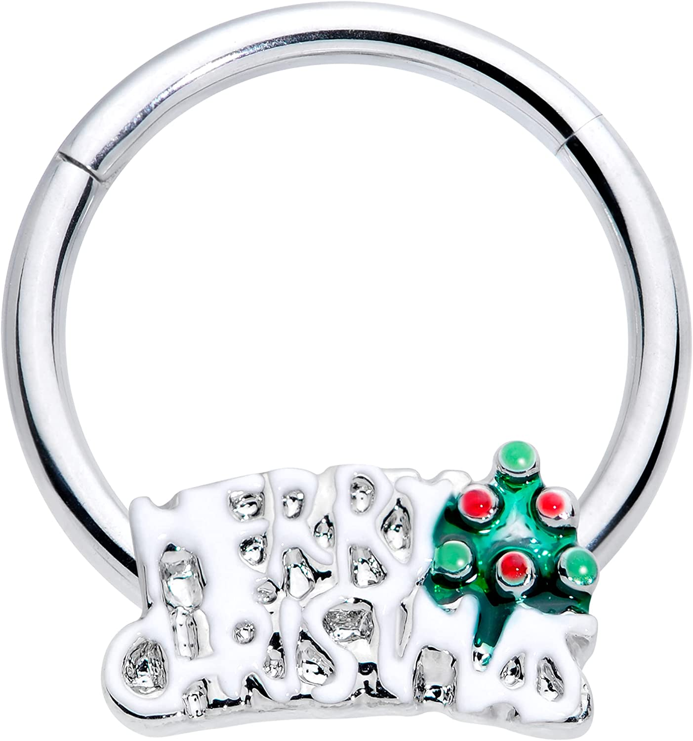 Body Candy Womens 16G Steel Hinged Segment Ring Seamless Cartilage Nipple Ring Red Green Tree Nose Hoop 3/8