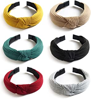 Knot Headband - Womens Plain Headbands Turban Wide Hair Band Elastic Cross Fashion Hair Accessories for Women and Girls
