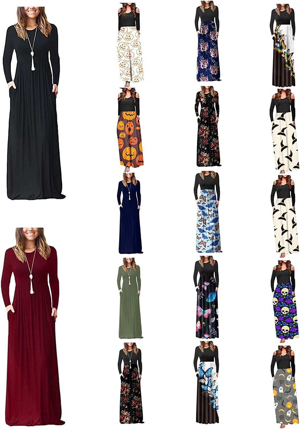 Long Sleeve Maxi Dress for Women - Crewneck Casual Boho Floral Print/Solid Long Dresses Formal Gowns and Evening Dress