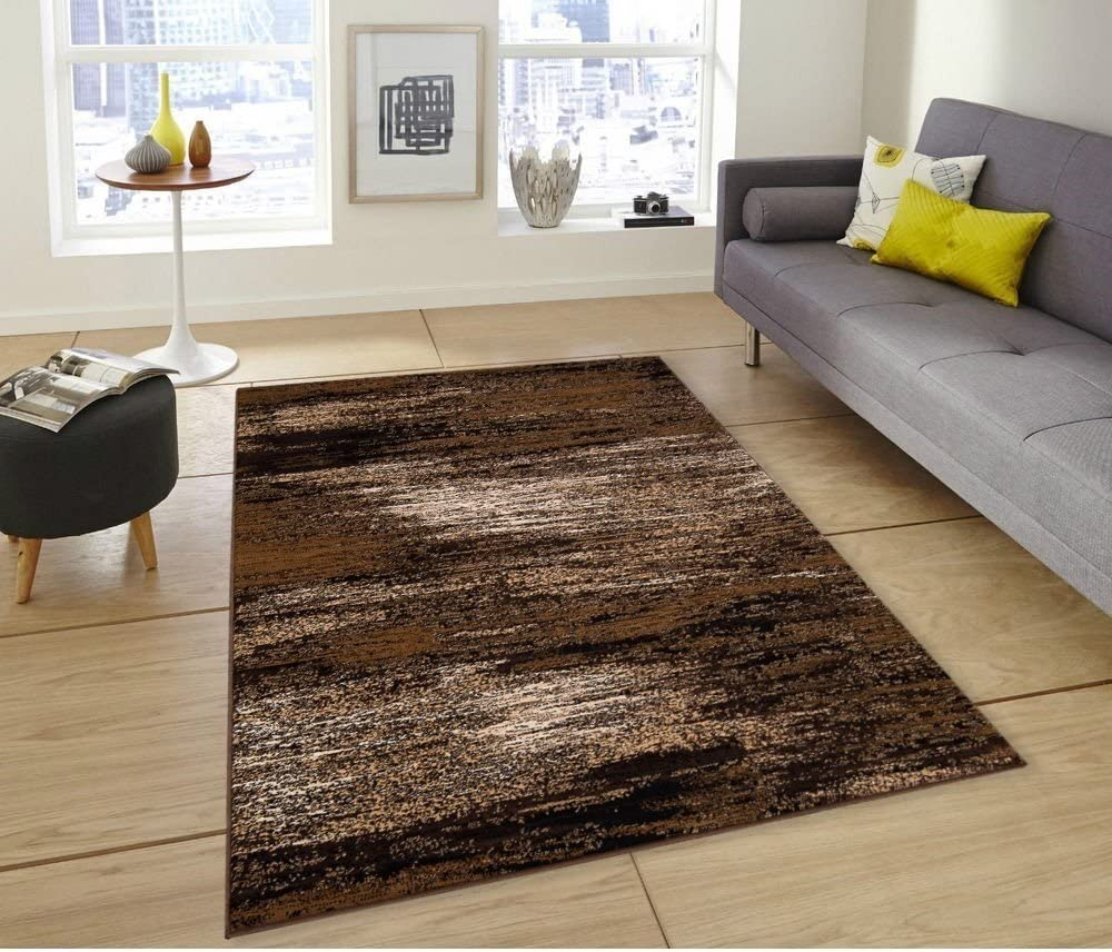 Pro Rugs Chocolate Brown Gold Abstract Contemporary Modern Design Mixed Colors Area Rug 5 Feet X 7 Feet Furniture Decor