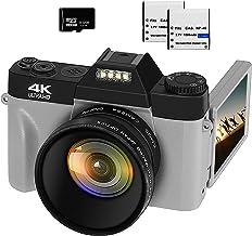 VETEK Cámara digital 4K, 48MP 16X Zoom digital Flip Screen Autofocus Videocámara para fotografía en YouTube, con lente gran angular y lente macro, tarjeta micro 32G, 2 baterías (gris)