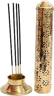 CraftVatika Safety Incense Stick Holder Burner Metal Brass Handmade Agarbati Burner Ash Catcher Cone Cylindrical Shaped Fl...
