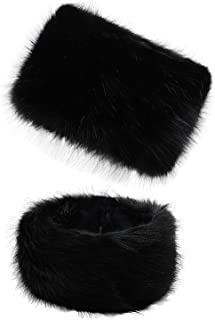 Faux Fur Women Russian Cossak Hat,Scarf Set for Ladies Winter,Hat Set_Black