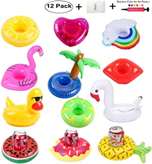 redting 12 Pack Inflatable Drink Holders+1 Inflatable Needle+1 Storage Bag,Drink Floats Inflatable Cup Coasters for Kids Toys and Pool Party (12pack)