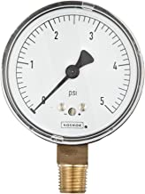 """NOSHOK 200 Series Steel Dry Dial Indicating Low Pressure Diaphragm Gauge with Bottom Mount, 2-1/2"""" Dial, +/-1.5% Accuracy, 0-5 psi Pressure Range"""