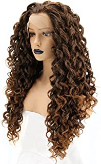 Anogol Hair Cap+Mixed Brown Long Deep Curly Lace Front Wig Natural Hairline Spiral Curls Wigs for Women Hair