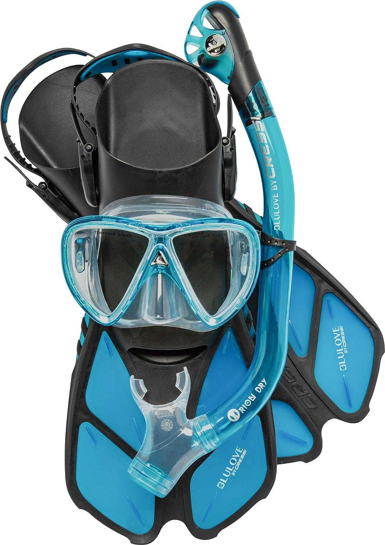 Under blast sales Cressi Adult Snorkeling Set Mask Fins Adjustable Dry Snorkel High order