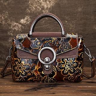 Fashion Leather Retro Handbag/Fashion Embossed Wiped Shoulder/Portable/Messenger Head Layer Cowhide Handbag (Color : Black)