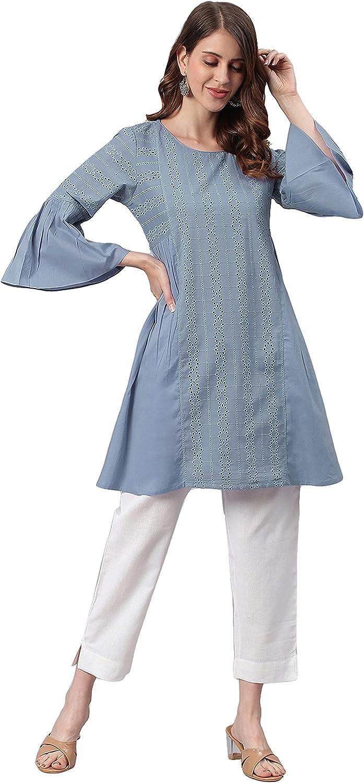 Janasya Women's Blue Cotton Tunic