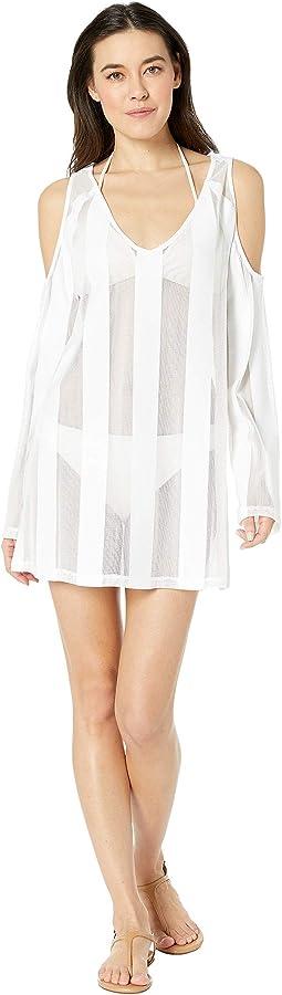 Solid Cold Shoulder Knit Dress Cover-Up