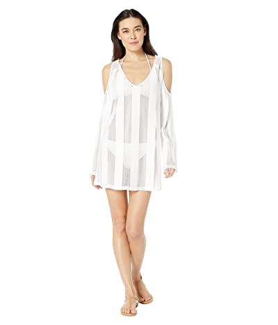 Kenneth Cole Solid Cold Shoulder Knit Dress Cover-Up (White) Women