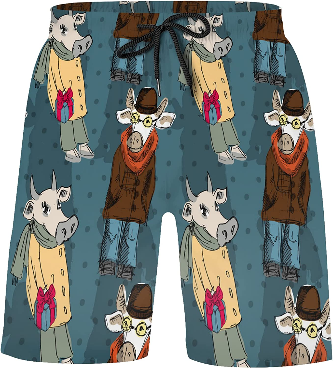 ZXZNC Funny Dressed Cows with Scarves and Hats Fashion Boys 4-Way Stretch Board Shorts Swi