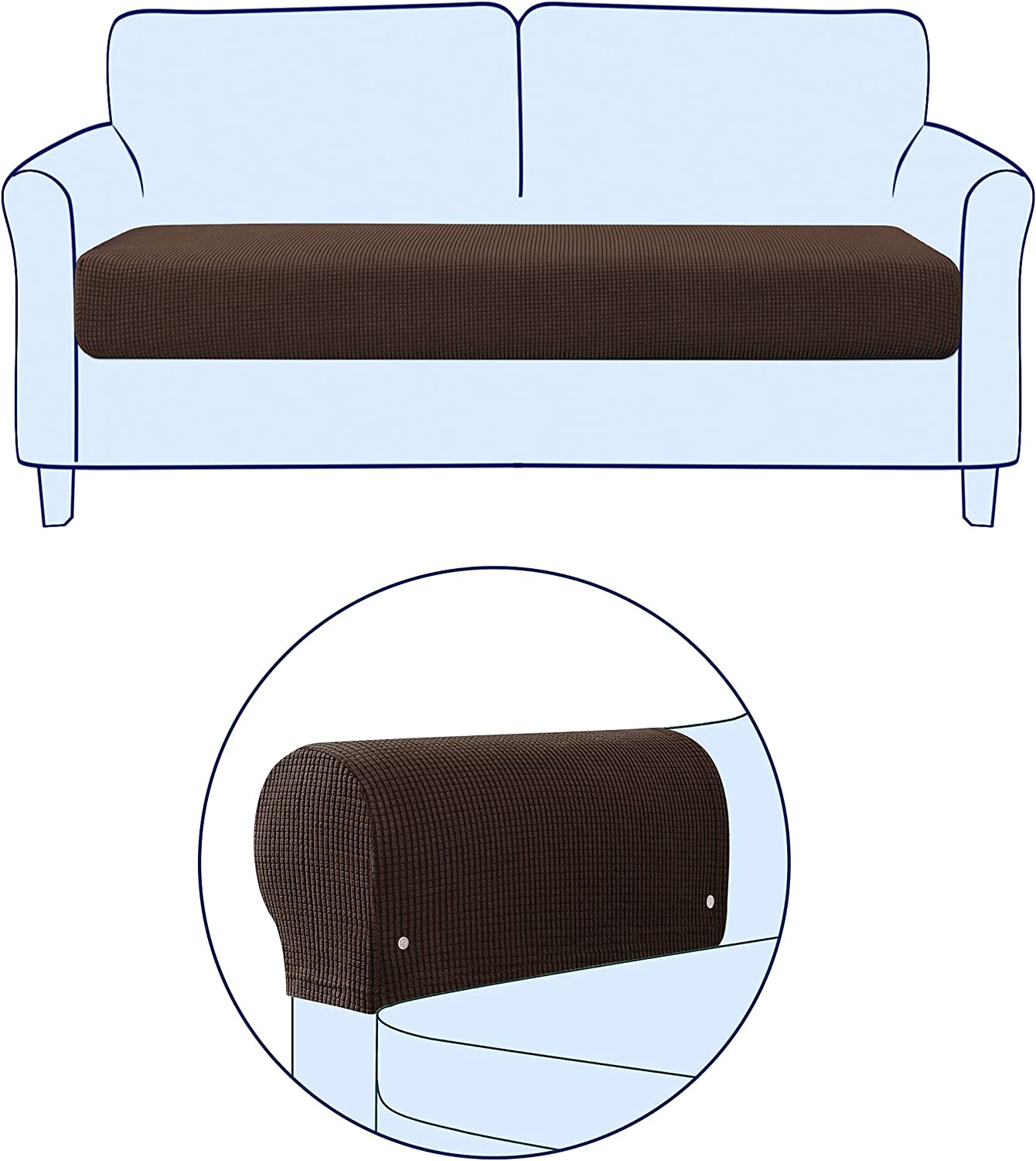 2021 Subrtex Stretch Armrest Covers Reservation Bundles Stre Couch Cushion