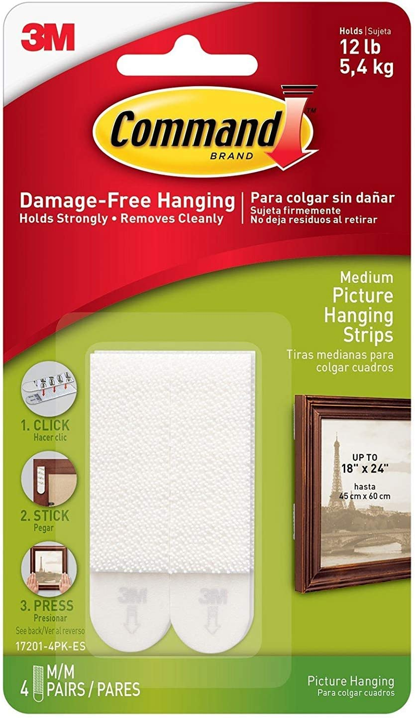 3M Free shipping / New Command White Picture Hanging Gifts Strips 8 pk lb. Foam 12