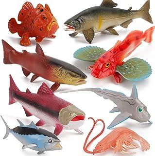8 PCS Ocean Sea Marine Animal Model Figures Salmon Tuna Ratfish Figurines Party Favors Supplies Cake Toppers Decoration Co...