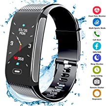 Fitness Tracker Activity Smart Bracelet Wristband Watch with Pedometer Heart Rate Monitor Step Calorie Tracker Waterproof IP67 Call SMS SNS Alert for Men Women Kids Compatible for Android and iPhone