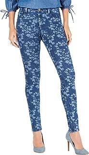 Womens Petites Selma Floral Medium Wash Skinny Jeans