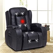 XRHOM Recliner Chair for Living Room Massage Heated Reclining Chair Pu Leather Chair with Cup Holder USB Ports Sofa Chair ...