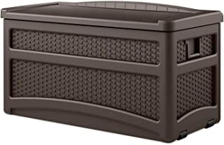 Suncast 73 Gallon Resin Wicker Patio Storage Box with Wheels - Water Resistant Outdoor Storage Container for Toys, Furniture, Yard Tools - Store Items on Deck, Porch, Yard - Brown