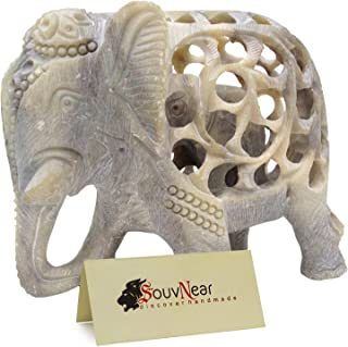 Shalinindia - 5 Inch Handmade Soapstone Collectible Figurine Sculpture of Mother Elephant with Baby Inside - Unique Baby Shower Decorations Elephant Decor Statue from India