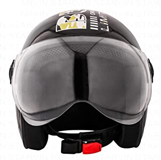 STARVIN RHHYN@X OPEN FACE HELMET    BLACK COLOR    Standard Size    ISI APPROVED    Unbreakable PC Visor with Double Layer Silicon Hardcore Coating    Scratch Resistant    MODEL- GUNNY