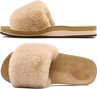 COFACE Pantofole Donna Pelliccia Finta Ciabatte Donne Memory Foam Punta Aperta Pelose Pantofole Invernali Supporto Arco Ra...