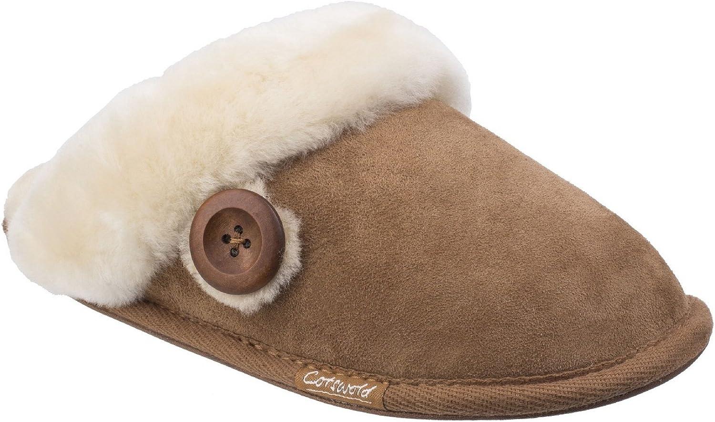 Cotswold Womens Lechlade Sheepskin Mule Slipper Chesnutt Size UK 8 EU 41