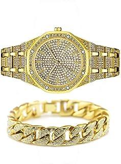 Unisex Bling-ed out Round Reloj para Hombre Reloj de Diamante Reloj de Hip Hop con a Juego 7.87