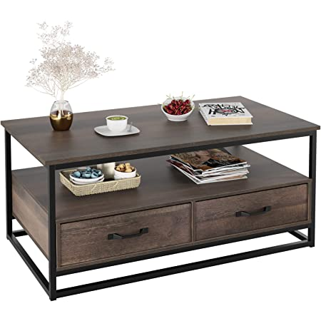 Amazon Com Homecho Industrial Coffee Table 43 Wood And Metal Cocktail Table With Storage Shelf And 2 Drawers For Living Room Rustic Brown Kitchen Dining